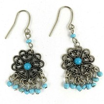 Vintage Turquoise Colored Stones Silver Tone Drop Dangling Pierced Earrings - $16.77