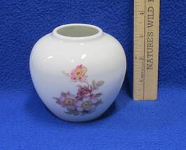Gerold Porzellan Ginger Jar Tettau Bavaria Miniature SM Vase Pink Roses ... - $20.78