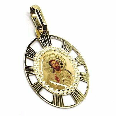 SOLID 18K YELLOW OVAL GOLD MEDAL, JESUS 20 mm, ENAMEL, VERY DETAILED WITH FRAME