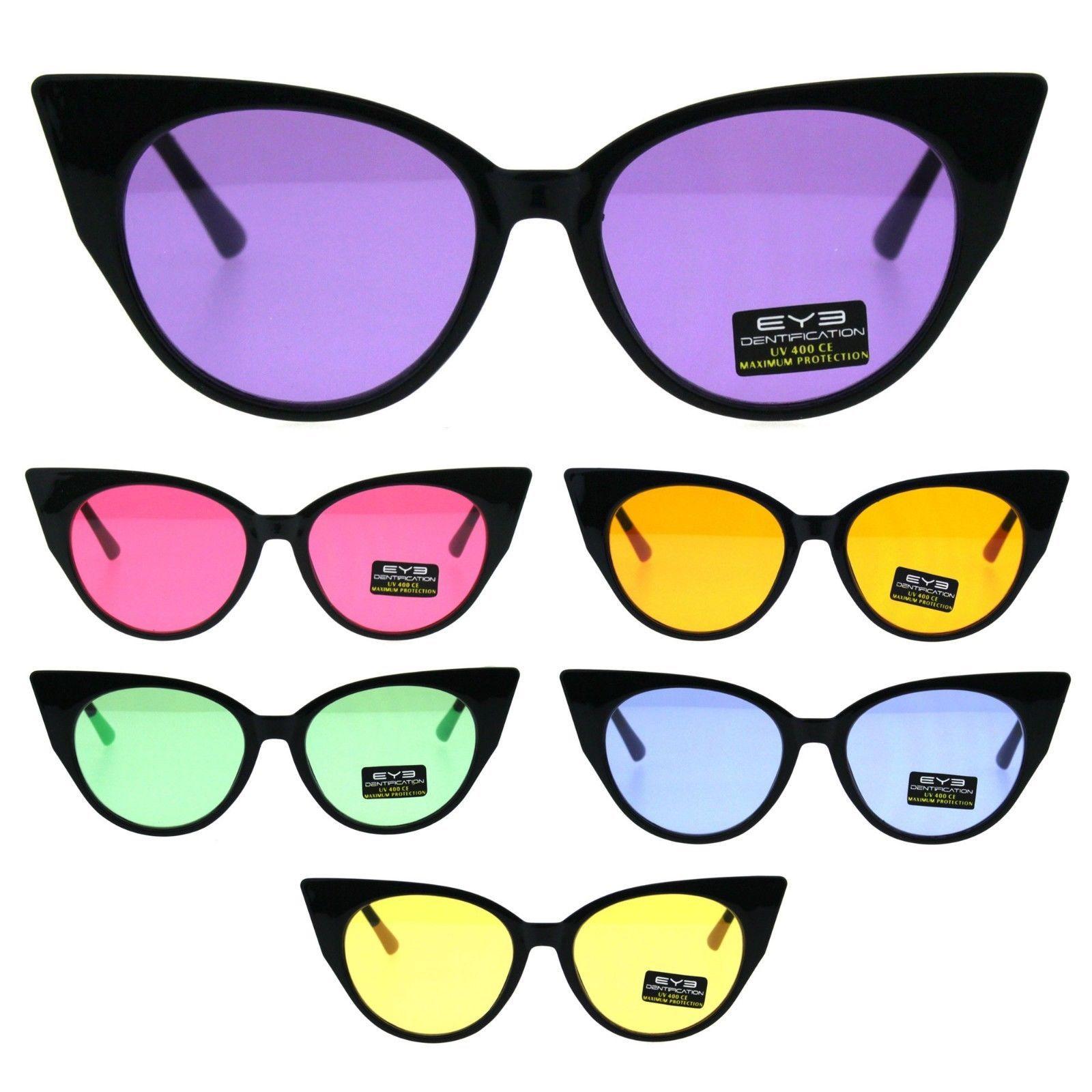 Womens Pop Color Lens Cat Eye Retro Plastic Designer Sunglasses