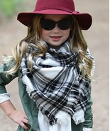 Girls Black and White Plaid Blanket Scarf Accessory MSRP $30.00 YOU SAVE... - $18.99