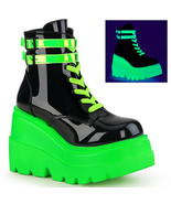 "DEMONIA Shaker-52 4 1/2"" Stacked Wedge PF ankle-high boot - Black Patent-UV Neon - $83.95"