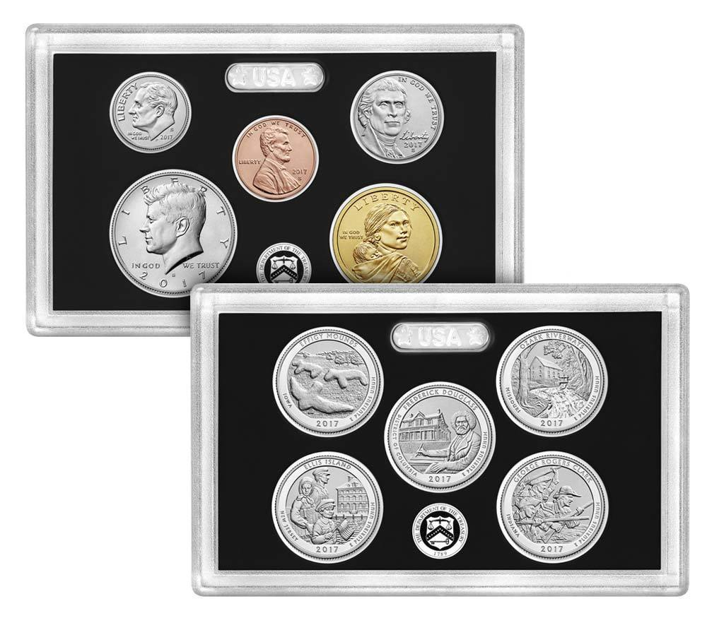 2 2017-S US Mint 225TH Anniversary Uncirculated ENHANCED 10 Coin Set In Mint Box