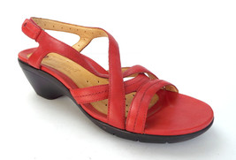 CLARKS Unstructured Size 10 Red Leather Slingback Sandals Shoes - $49.00