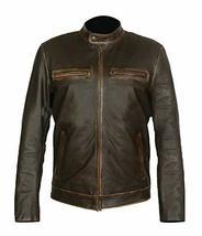 Mark Wahlberg Contraband Distressed Brown Biker Leather Jacket image 1