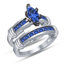 Marquise Sapphire White Gold Finish 925 Sterling Silver Ladies Bridal Ri... - $104.85