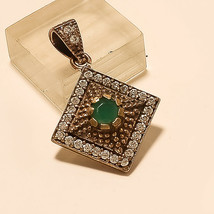 Natural Zambian Emerald Pendant 925 Sterling Silver Two Tone Christmas J... - $17.58