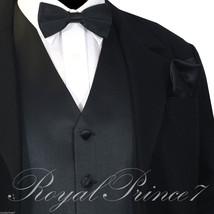 BLACK Solid Tuxedo Suit Vest Waistcoat and Bow tie Hankie Set Prom Wedding XS-6X - $16.81+