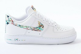nike air force 1 white custom 'Splattered swooshes' available in all sizes 6-14 - $210.00