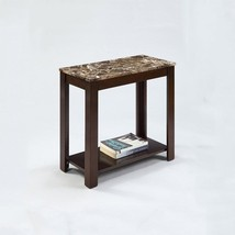 Faux Marble Traditional Style Side/End Table, 24-Inch, Espresso - $54.24