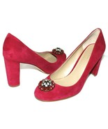 """❤ Ann Taylor Jeweled Pink Fuchsia Suede Leather 3.5"""" Heel Pump 8 M GREAT... - $26.20"""