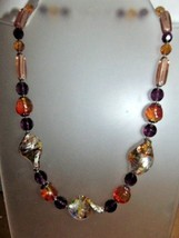"Handmade Bead Necklace Hangs 9"" Full Length 18""-Largest Bead is 3/4"" X 1... - $9.90"