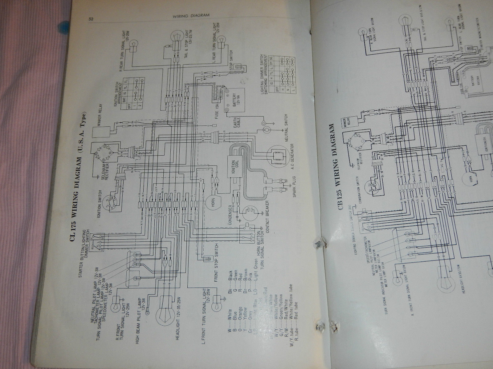 Honda Cl 175 Wiring Diagram Page 4 And Schematics Cb125 1969 69 1970 70 Cl125 K3 Cb175 Similar Items Cl175