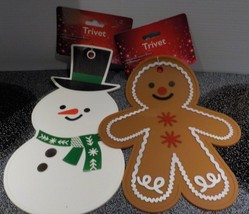 Two Christmas Trivet, Snowman And Gingerbreadman, Made of Resistant Hea... - $12.84
