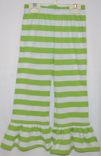 Blanks Boutique Green White Ruffled Pants Cotton Spandex Size 4T