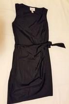 Ann Taylor Loft Women's Classic Mock Wrap Black Cotton Spandex Dress Size 2 - $14.84