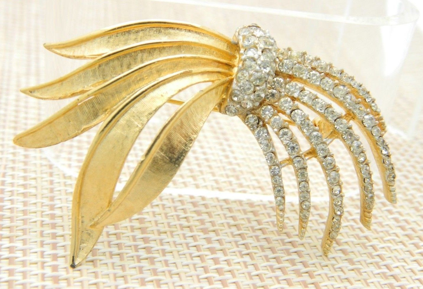 Clear Rhinestone Pave Abstract Firework Pin Brooch Vintage