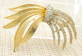 Clear Rhinestone Pave Abstract Firework Pin Brooch Vintage - $34.64