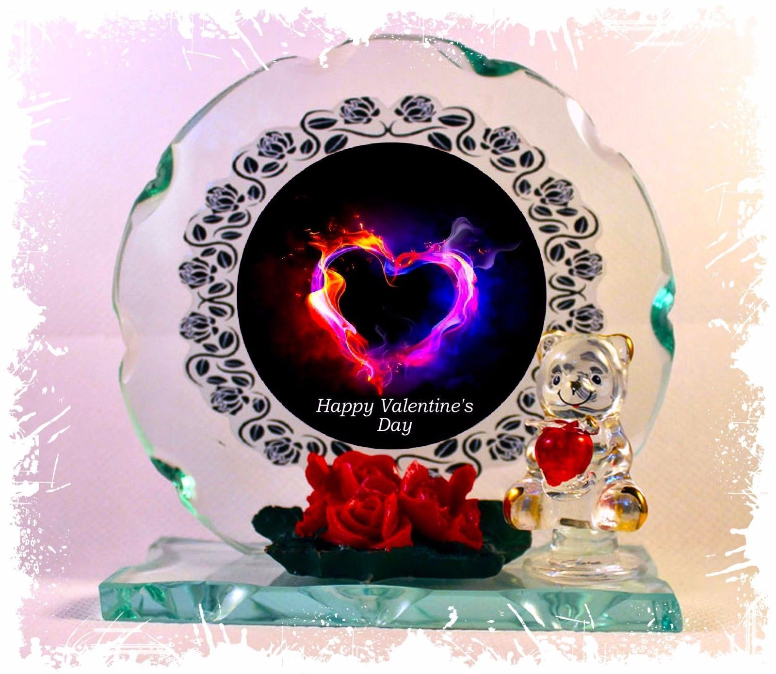 Heart of Fire Cut Glass Round Plaque Valentine Sweetheart Limited Unique  #1