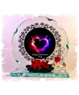 Heart of Fire Cut Glass Round Plaque Valentine Sweetheart Limited Unique... - $32.07