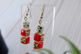 Red and White Vintage Dangle Earrings, Christmas Color Jewelry - $8.59