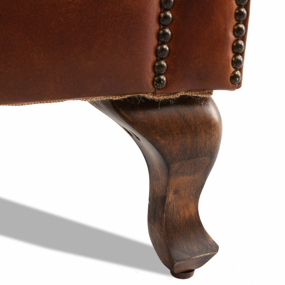MarquessLife 100%Genunie Leather Handmade Tufted High Back Armchair Antique Sofa image 7