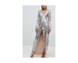 ASOS Club L fully embellished sequin wrap front maxi dress Size US 10 NWT - €69,68 EUR