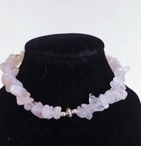 """plus size 8"""" pink bracelet with rose quartz - $7.49"""
