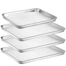 Umite Chef Stainless Steel Baking Pan, 4 Piece Large Cookie Sheet Set fo... - £36.65 GBP