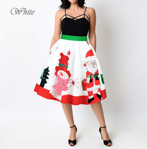 RED Christmas Print  A-line Swing Skirt Women High Waist Knee Length Flare Skirt image 8