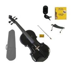 1/2 Black Violin,Black Bow,Case+Rosin+2 Sets Strings+Shoulder Rest+Clip On Tuner - $45.00