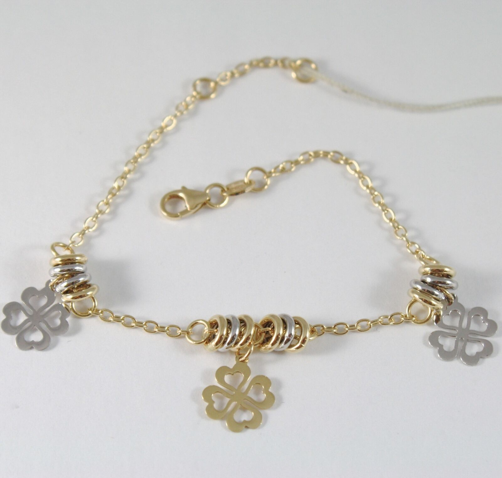 Bracelet in Yellow Gold White 750 18K with Circles, Leaf Clover Pendants 19 CM