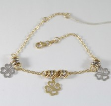 Bracelet in Yellow Gold White 750 18K with Circles, Leaf Clover Pendants... - $435.92