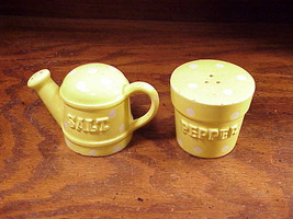 Polka Dot Yellow Watering Can Ceramic Salt & Pepper Shakers made by Enesco - $8.95