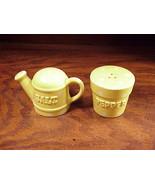 Cute Yellow Polka Dot Watering Can Pot Ceramic Salt & Pepper Shakers, En... - $4.95