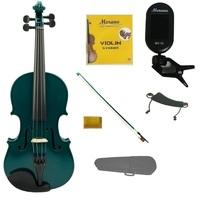 1/4 Green Violin,Green Bow,Case+Rosin+2 Sets Strings+Shoulder Rest+Clip On Tuner - $45.00