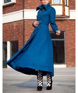 Blue wool coat women coat Women dress coat Autumn Winter Spring long coa... - $249.99