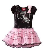 NEW Sanrio Hello Kitty Short Sleeve Tutu Dress With Sequins, Black, Size 2T - £19.41 GBP