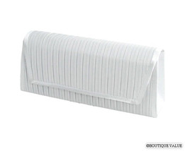White Satin Ribbed Shoulder Clutch Handle Evening Purse - $14.99