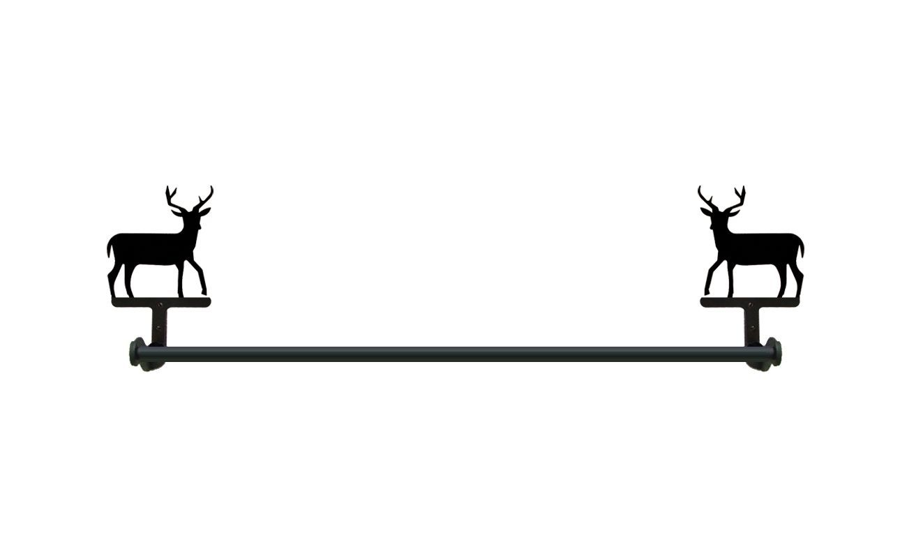 Wrought Iron Large Towel Bar Deer Animal Wildlife Bathroom Kitchen Rack Decor