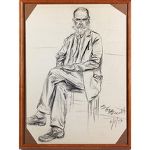 Seated Man With Beard, A Framed Portrait In Cha... - $180.00