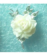 White Rose w Maracites earrings silver plated cbp - $8.00