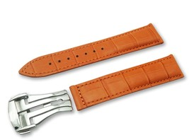 Orange Leather Cr Watch Strap Band for Omega Seamaster Clasp 18 19 20 21 22mm - $37.26+