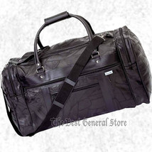 "Black Leather 21"" Tote Gym Sports Duffle Bag Carry-on Overnight Luggage - $32.95"