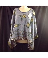 Woven Blanket Reversible Fringed Poncho Cape Yellow Tulip Square Wrap On... - $49.01