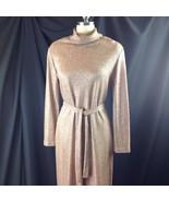 1960s Miss Elliette Gold Lurex Maxi Dress Hostess Long Sleeve Sparkle 12/14 - $84.15