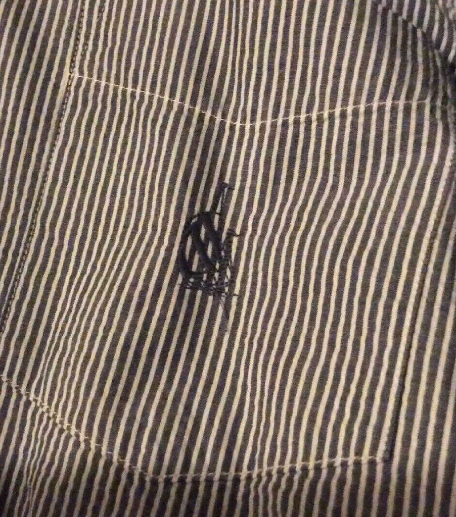 Nautica Heritage Shirt Mens S Long Sleeve Button Front Blue Striped Sear Sucker