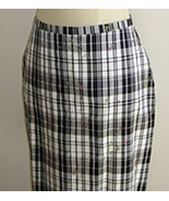 Black and White Plaid Silk Skirt with Flower Embroidery Size 12 NWT  - $19.99