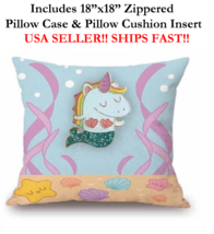 "18x18 18"" CUTE BABY GIRL SEA MERMAID UNICORN RAINBOW Zipper Throw Pillow... - $19.99"