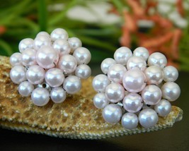 Vintage Pastel Pink Faux Pearl Cluster Bead Earrings Japan Clip On - $9.95